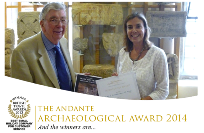 Professor Martin Biddle receiving the prize in Winchester City Museum from Dr Denise Allen, Andante's Director of Archaeology.