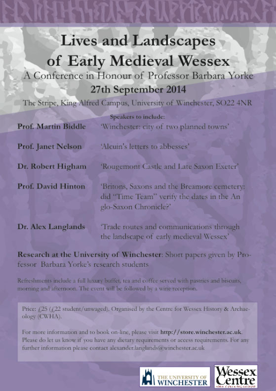 University of Winchester Conference in Honour of Professor Barbara Yorke